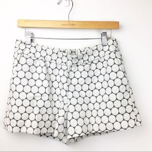 SZ 4 J Crew White & Silver Circle Shorts